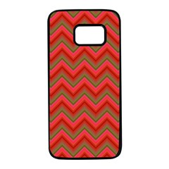 Background Retro Red Zigzag Samsung Galaxy S7 Black Seamless Case by AnjaniArt