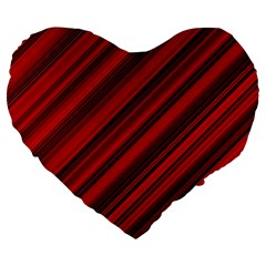 Background Red Lines Large 19  Premium Flano Heart Shape Cushions