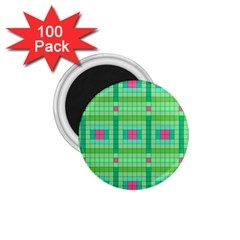 Checkerboard Squares Abstract Green 1 75  Magnets (100 Pack)