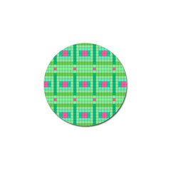 Checkerboard Squares Abstract Green Golf Ball Marker (4 Pack) by AnjaniArt