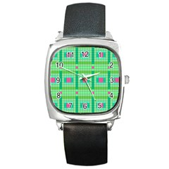 Checkerboard Squares Abstract Green Square Metal Watch