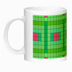 Checkerboard Squares Abstract Green Night Luminous Mugs by AnjaniArt