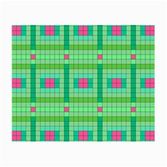 Checkerboard Squares Abstract Green Small Glasses Cloth