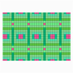Checkerboard Squares Abstract Green Large Glasses Cloth