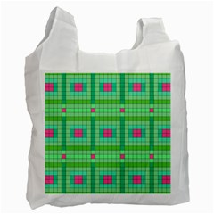 Checkerboard Squares Abstract Green Recycle Bag (one Side)