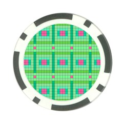 Checkerboard Squares Abstract Green Poker Chip Card Guard (10 Pack)
