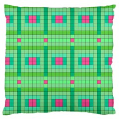 Checkerboard Squares Abstract Green Standard Flano Cushion Case (one Side) by AnjaniArt