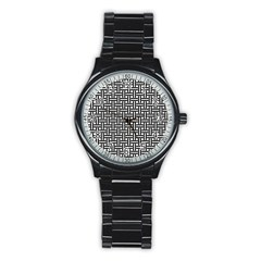 Braiding Vector Fabric Pattern Stainless Steel Round Watch by AnjaniArt