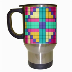 Checkerboard Squares Abstract Travel Mugs (white) by AnjaniArt