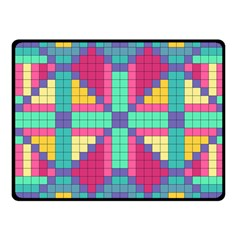 Checkerboard Squares Abstract Fleece Blanket (small) by AnjaniArt