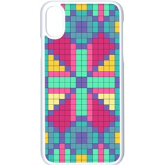 Checkerboard Squares Abstract Apple Iphone X Seamless Case (white)