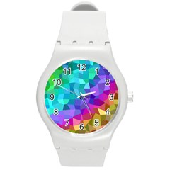 Colorful Multicolored Rainbow Round Plastic Sport Watch (m)
