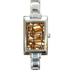 Autumn Leaf Mosaic Rectangle Italian Charm Watch