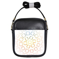 Abstract Geometric Squares Radial Girls Sling Bag