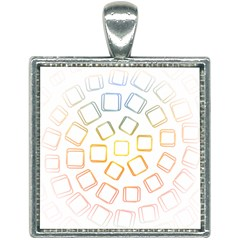 Abstract Geometric Squares Radial Square Necklace by Jojostore