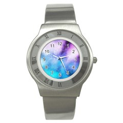 Background Abstract Watercolor Stainless Steel Watch
