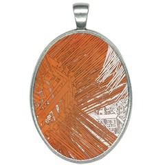 Abstract Lines Background Oval Necklace by Jojostore