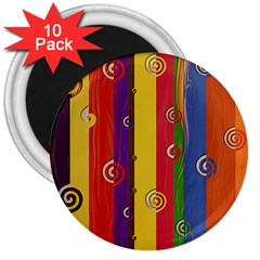 Abstract  Rainbow 3  Magnets (10 Pack)  by Jojostore