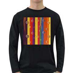Abstract  Rainbow Long Sleeve Dark T Shirt