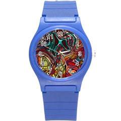 Abstract Art Stained Glass Round Plastic Sport Watch (s) by Jojostore