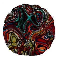 Abstract Art Stained Glass Large 18  Premium Flano Round Cushions