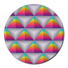 Colorful Triangle Round Mousepads by AnjaniArt