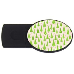 Christmas Green Tree Usb Flash Drive Oval (2 Gb)