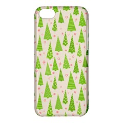 Christmas Green Tree Apple Iphone 5c Hardshell Case by AnjaniArt