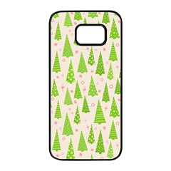 Christmas Green Tree Samsung Galaxy S7 Edge Black Seamless Case by AnjaniArt