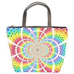 Color Background Structure Lines Rainbow Bucket Bag