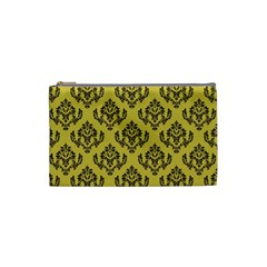 Damask Black On Ceylon Yellow  Cosmetic Bag (small)