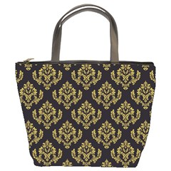 Damask Ceylon Yellow On Black Bucket Bag