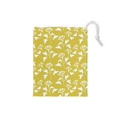 Floral Ceylon Yellow  Drawstring Pouch (small)