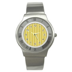 Nice Stripes In Ceylon Yellow And White Stainless Steel Watch by TimelessFashion