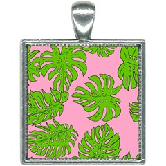 Leaves Tropical Plant Green Garden Square Necklace by Alisyart