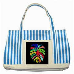 Leaf Tropical Colors Nature Leaves Striped Blue Tote Bag by Alisyart