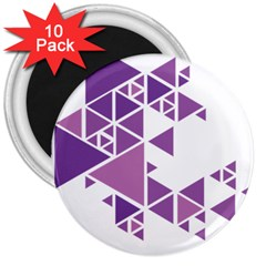 Art Purple Triangle 3  Magnets (10 Pack)
