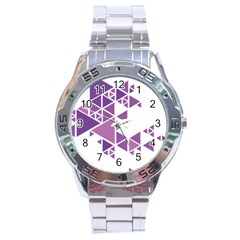 Art Purple Triangle Stainless Steel Analogue Watch