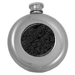 Black Rectangle Wallpaper Grey Round Hip Flask (5 Oz) by Mariart