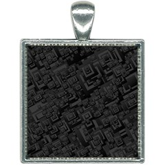 Black Rectangle Wallpaper Grey Square Necklace by Mariart