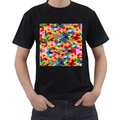 Background Triangle Rainbow Men s T Shirt (black)