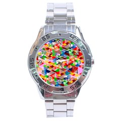 Background Triangle Rainbow Stainless Steel Analogue Watch
