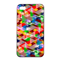 Background Triangle Rainbow Apple Iphone 4/4s Seamless Case (black) by Mariart