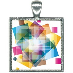 Abstract Background Square Necklace by Mariart