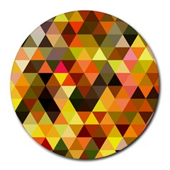 Abstract Geometric Triangles Shapes Round Mousepads