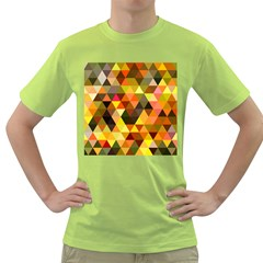 Abstract Geometric Triangles Shapes Green T Shirt by Mariart
