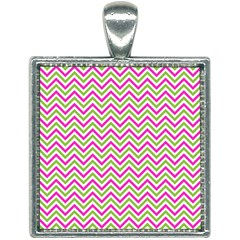 Abstract Chevron Square Necklace