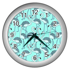 Bird Flemish Picture Wall Clock (silver)