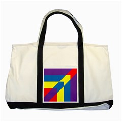 Colorful Red Yellow Blue Purple Two Tone Tote Bag by Mariart