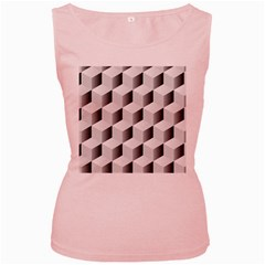 Cube Isometric Women s Pink Tank Top